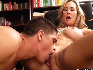 Mid Age Blonde Professor With Cock-squeezing Faux Orbs Brandi Love Is Making Her Youthfull Student Boy Bruce Venture To Munch Her Twat.