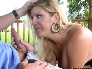 Ultra-kinky Blonde Cougar Railing A Stiff Dick Outdoors