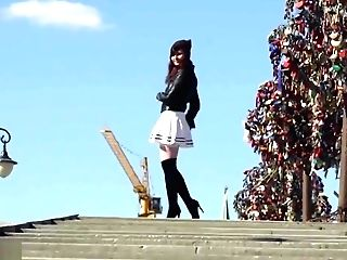 Look Under My Microskirt. Jeny Smith Spinning In A Miniskirt In Public