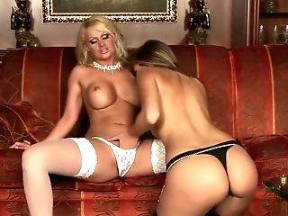 Horny Lezzies Fuck On Couch