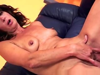 Euro Granny Cockriding And Playing With Jism