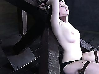 Big-titted Brown-haired Lady Dixon Bounded In The Barn Waiting For Chastisement