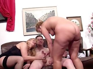 German Big Tit Cougar Entice Real Duo To Fuck