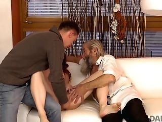 Daddy4k. Chick's Smoothly-shaven Beaver Is Fingerblasted By Old Man And Son-in-law In Turn