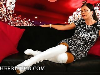 Lady Julina's Milky Boots For The Thorough Boot Worshipper